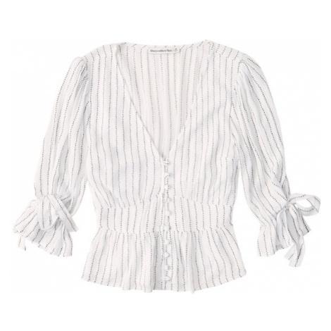 Abercrombie & Fitch Bluzka 'PEASANT' czarny / biały
