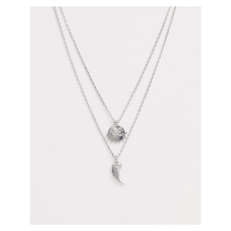 Uncommon Souls tooth and disc pendant layered neck chain in silver