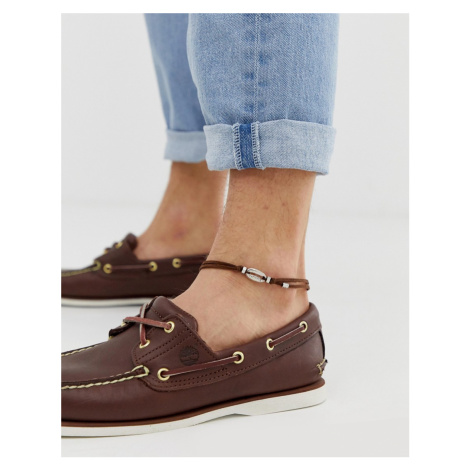ASOS DESIGN suede anklet with shell charm in brown