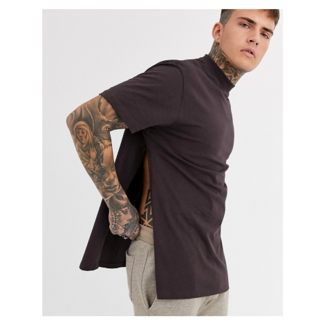 ASOS DESIGN relaxed longline t-shirt with side splits in brown