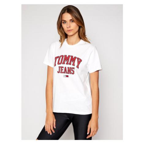 Tommy Jeans T-Shirt Collegiate Logo DW0DW09075 Biały Boyfriend Fit Tommy Hilfiger