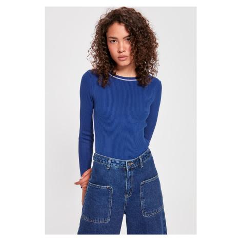 Trendyol Navy Blue Collar And Side Stripknit Knitwear Sweater