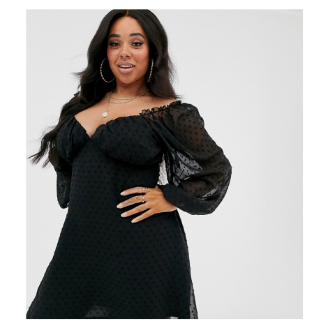 Missguided Plus dobby milkmaid mini dress with long sleeves in black