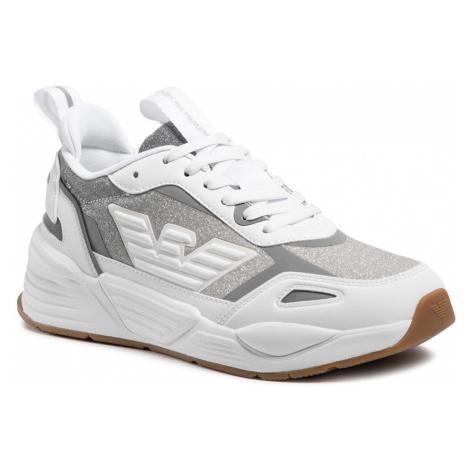 Sneakersy EMPORIO ARMANI - X3X126 XM722 T374 Whi Whi/Sil Whi Sil