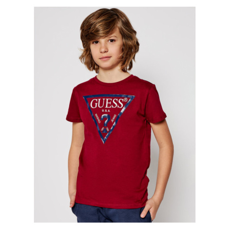 Guess T-Shirt L73I55 K5M20 Bordowy Regular Fit