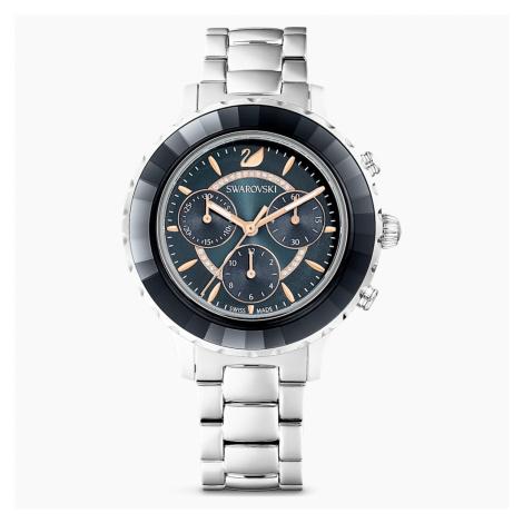 Octea Lux Chrono Watch, Metal bracelet, Dark gray, Stainless steel Swarovski