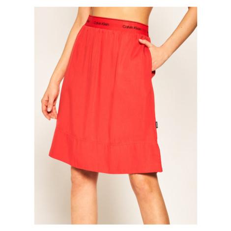 Calvin Klein Spódnica trapezowa Washed Tencell Elastic K20K201781 Czerwony Regular Fit