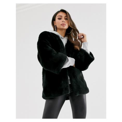 ASOS DESIGN collarless faux fur jacket in black