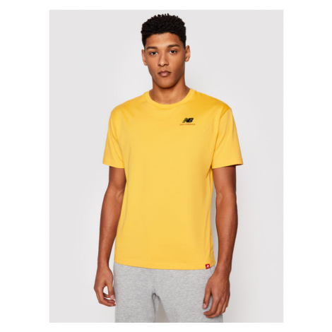 New Balance T-Shirt Essentials Embroidered Tee MT11592 Żółty Relaxed Fit