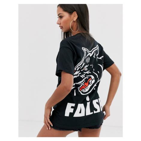 HNR LDN false graphic back print t-shirt in boyfriend fit Honour