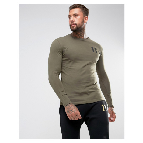 11 Degrees long sleeve t-shirt in khaki with logo