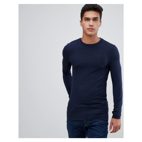 ASOS DESIGN muscle fit long sleeve crew neck t-shirt in navy