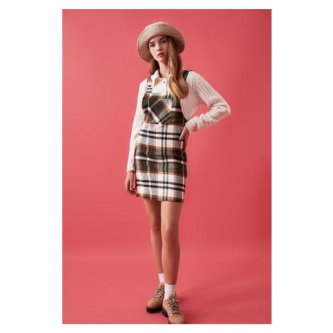 Trendyol Brown Plaid Jile Dress