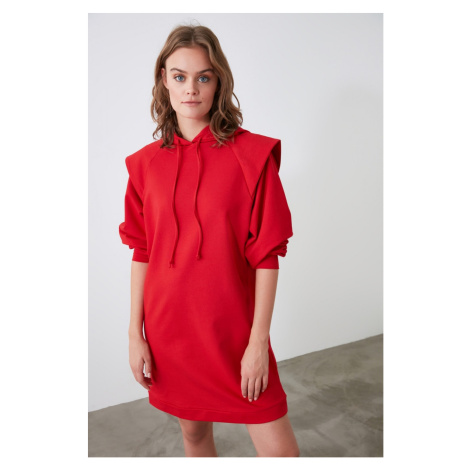 Trendyol Red Shoulder Detailed Oversize Knitted Dress