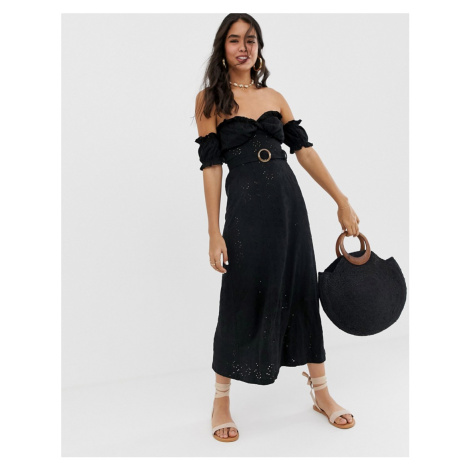 ASOS DESIGN bardot maxi broderie sundress with tortoiseshell belt