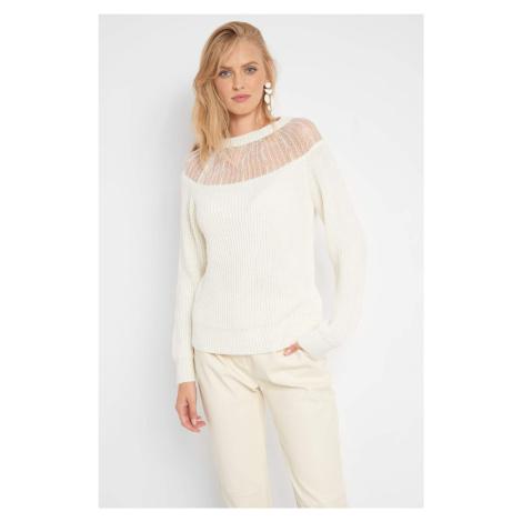 Prążkowany sweter z koronką Orsay