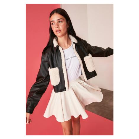 Trendyol Black FD Leather Plush Coat