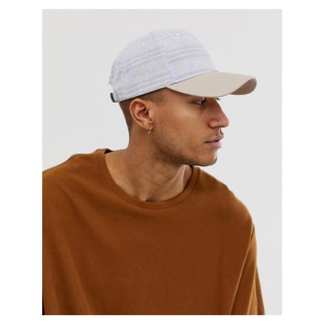 ASOS DESIGN grey check baseball cap with contrast peak