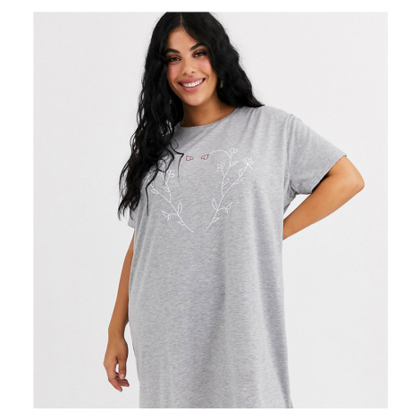 Wednesday's Girl Curve oversized t-shirt dress with floral heart graphic