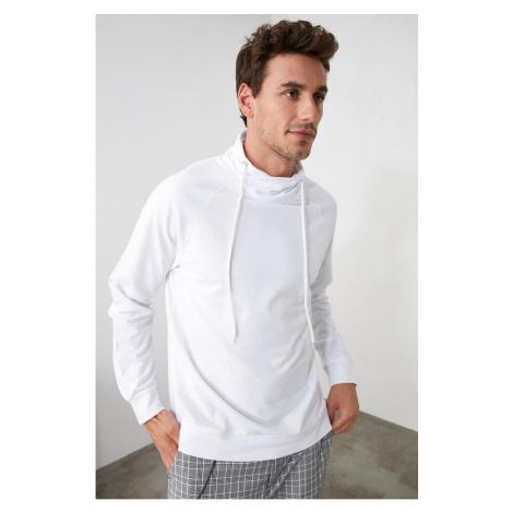 Trendyol Biały męski szal kołnierzyk regularne fit bluza