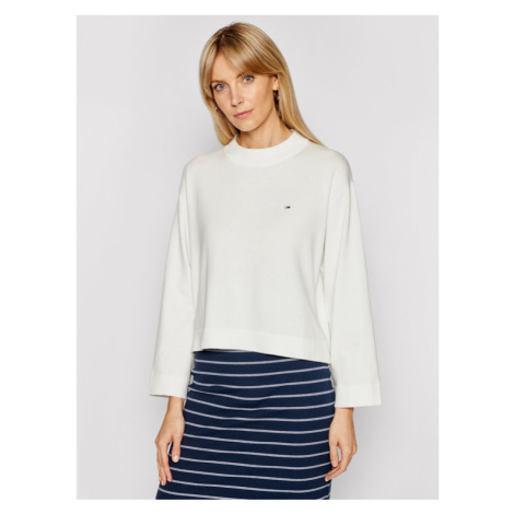Tommy Jeans Sweter Essential DW0DW09802 Biały Relaxed Fit Tommy Hilfiger