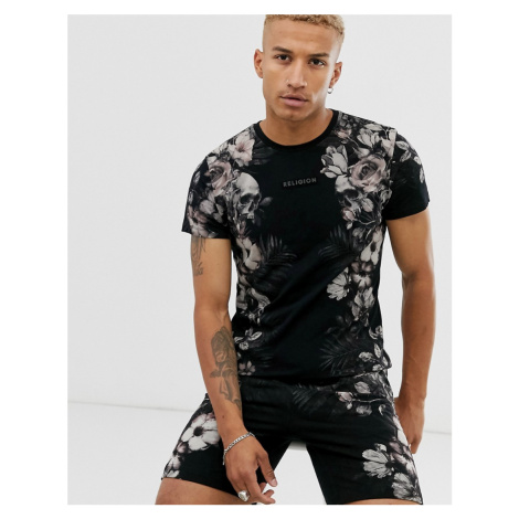 Religion co-ord t-shirt with floral side print in black
