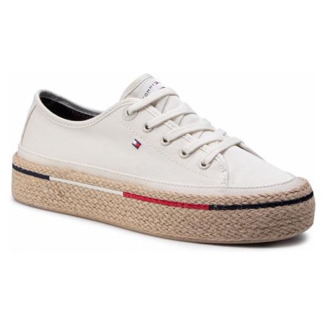 Espadryle TOMMY HILFIGER - Flatform Rope Sneaker FW0FW04995 Ivory YBI