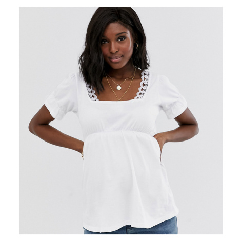 ASOS DESIGN Maternity square neck top with lace trim