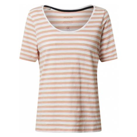 SELECTED FEMME Koszulka 'HANNAH' różowy pudrowy / biały