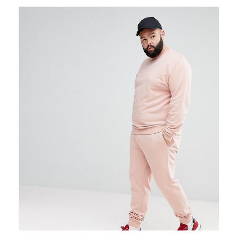 ASOS DESIGN Plus Tracksuit Sweatshirt/Super Skinny Jogger In Pink
