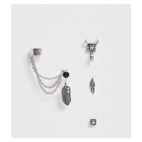 ASOS DESIGN mixed stud earing pack in silver tone