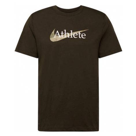 NIKE Koszulka funkcyjna 'Athlete' oliwkowy / biały / ciemnozielony