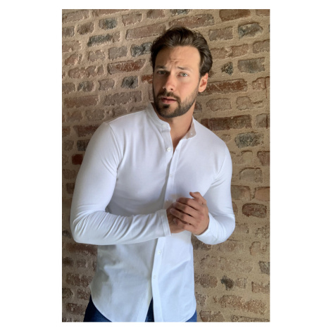 Trendyol White Male Judge Collar Pike Knitted Long-sleeved Shirt
