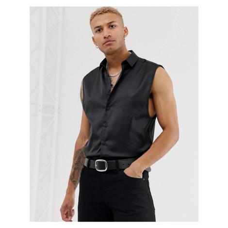 ASOS DESIGN regular fit satin sleeveless shirt in black