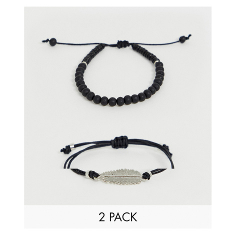 ASOS DESIGN bracelet pack in black with beads and feather