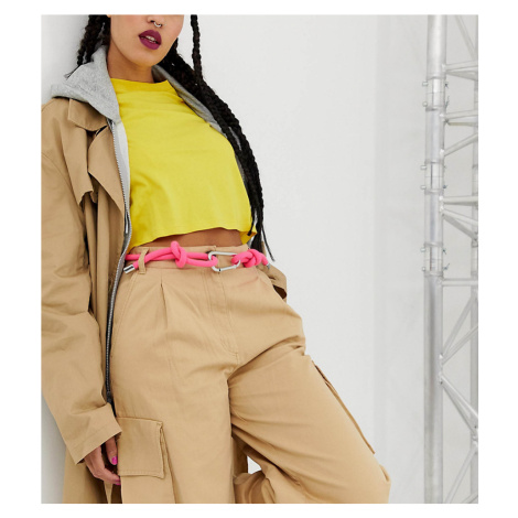 Monki rope belt in neon pink