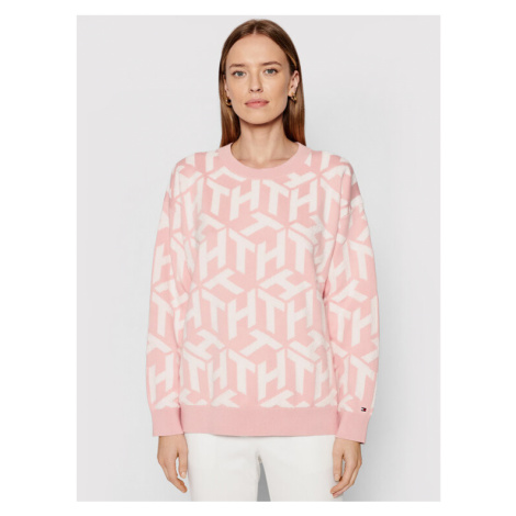 Tommy Hilfiger Sweter Big Cube C-Nk WW0WW30027 Różowy Regular Fit