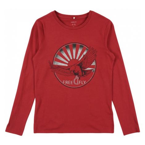 NAME IT Koszulka 'SARGUN' czerwony / czarny / biały
