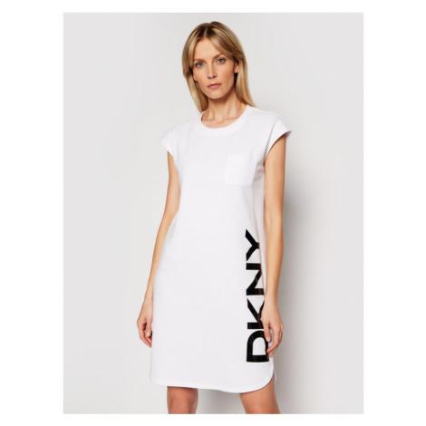 DKNY Sukienka dzianinowa P0RD1B2J Biały Regular Fit