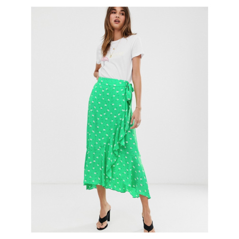 2NDDAY Limelight Anemone floral print ruffle wrap midi skirt 2nd Day