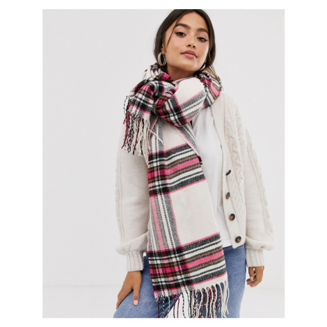 ASOS DESIGN cream check long scarf with pink highlight