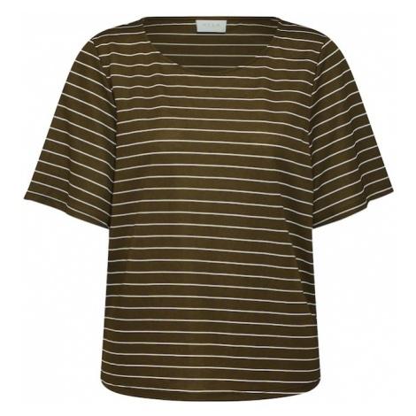 VILA Koszulka 'Vipinja' oliwkowy / biały