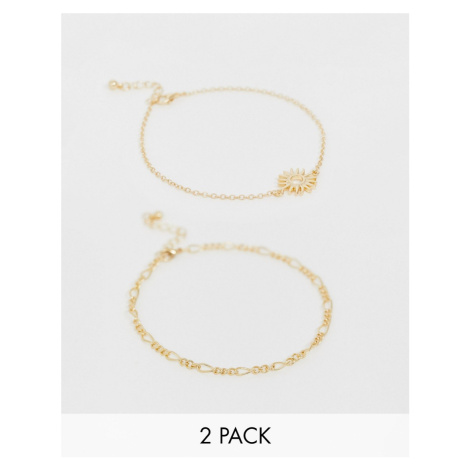 ASOS DESIGN pack of 2 anklets with sun charm and chain in gold tone