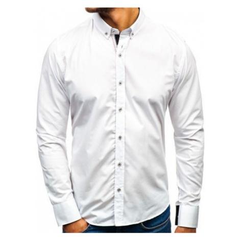 Koszula męska elegancka z długim rękawem biała Bolf 8820