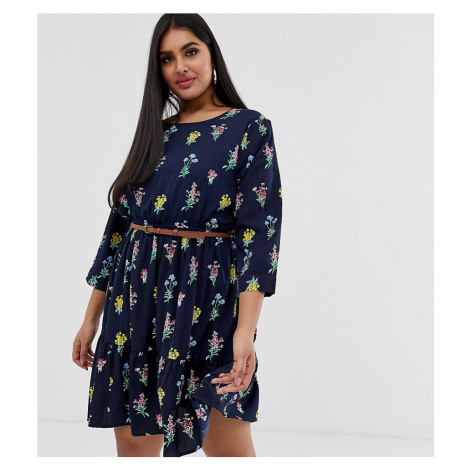 Yumi Plus belted smock dress in floral print