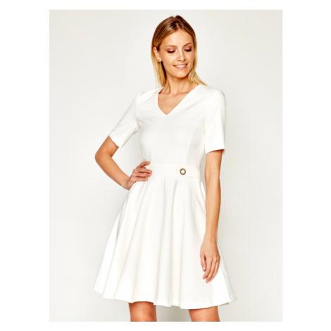 Trussardi Jeans Sukienka koktajlowa Technical 56D00362 Biały Regular Fit