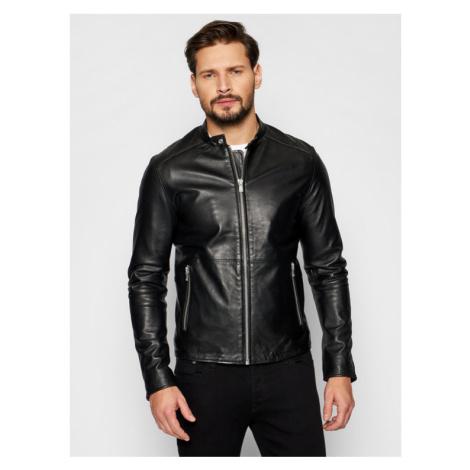 Jack&Jones Kurtka skórzana Jprblacolt Leather 12193268 Czarny Regular Fit Jack & Jones