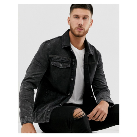 River Island utility denim jacket in grey
