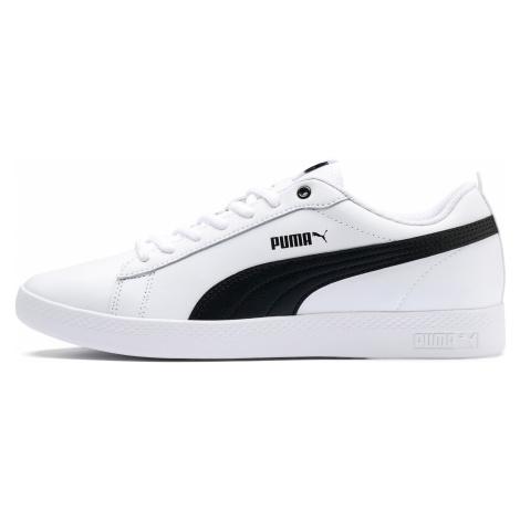 PUMA Damskie Buty Sportowe Ze Skóry Smash V2, Biały Czarny