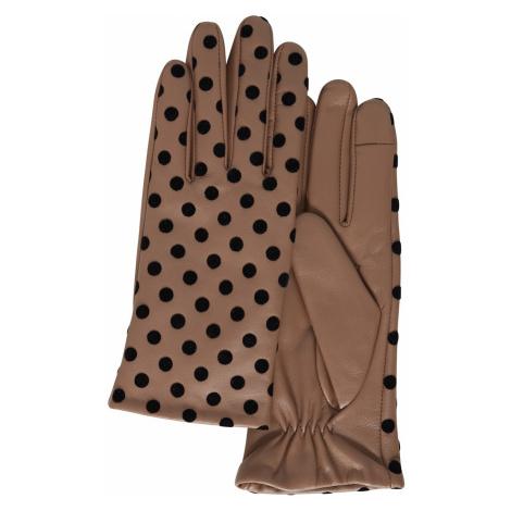 Ichi brązowe rękawiczki w groszki A Fiona